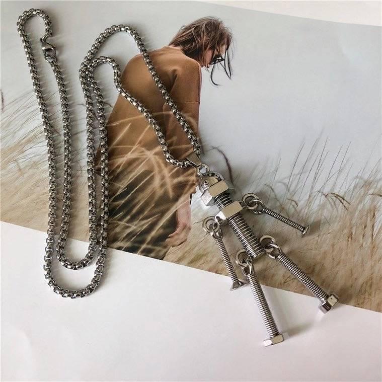 欧美风螺丝机器人吊坠项链-包邮